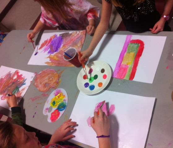 Children painting crafts