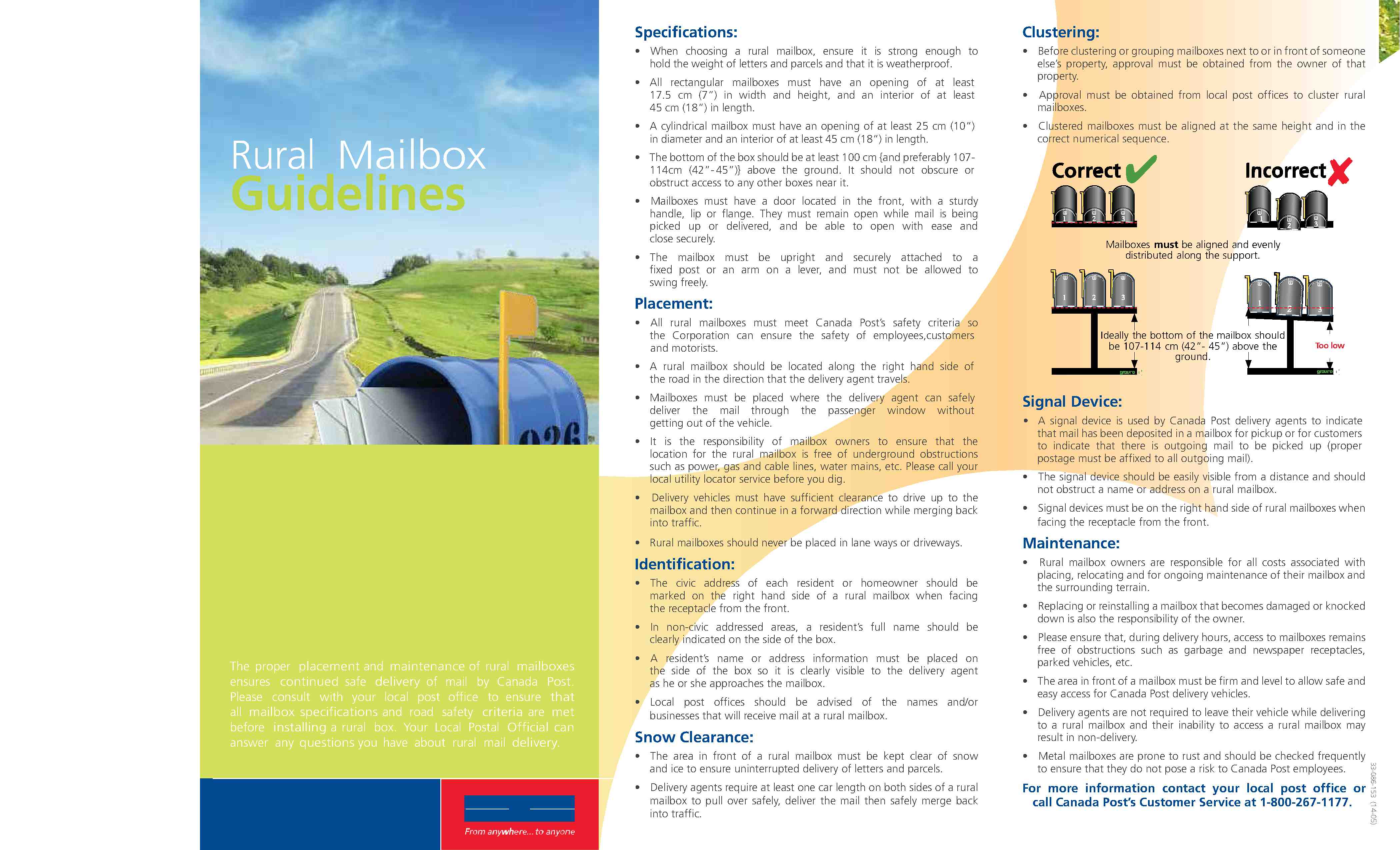 specs for rural mailboxes